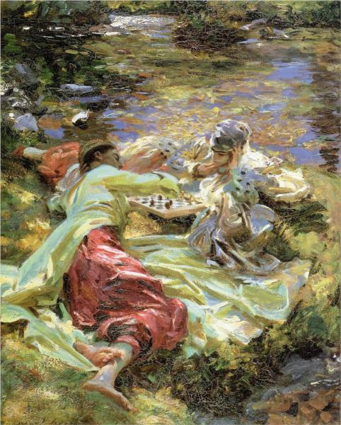 The Chess Game by John Sargent, 1907