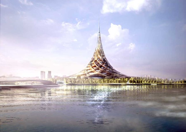 crystal island, arcology, city in a building