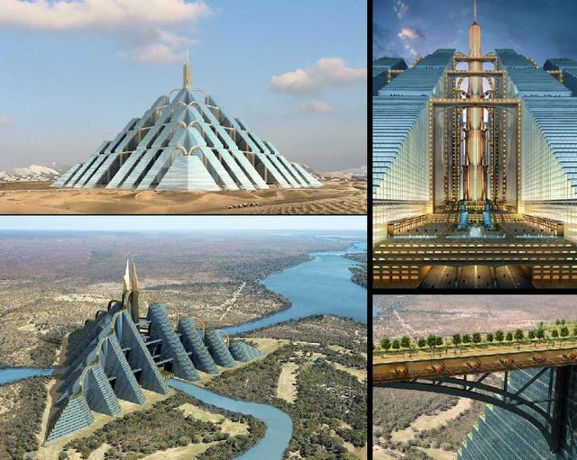 Dubai Ziggurat arcology city in a building