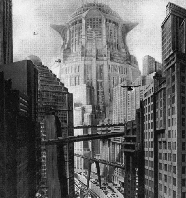 hugh ferris Atompunk megacity retro future city