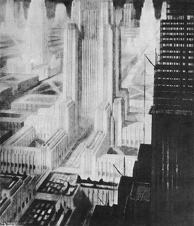 hugh ferris Atompunk megacity retro future city