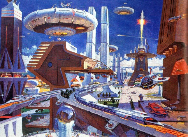 Atompunk megacity retro future city