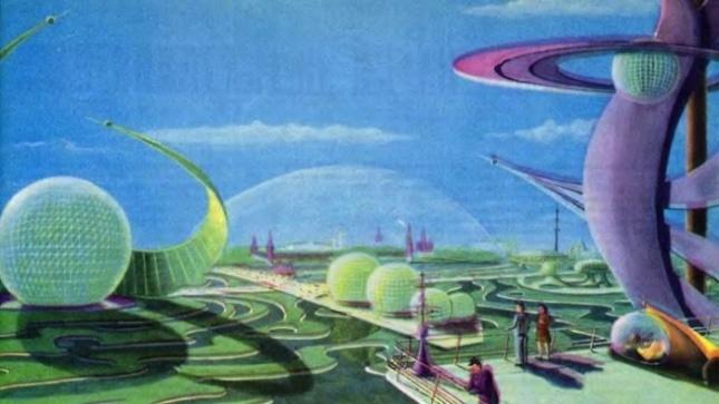 Soviet megacity Atompunk megacity retro future city