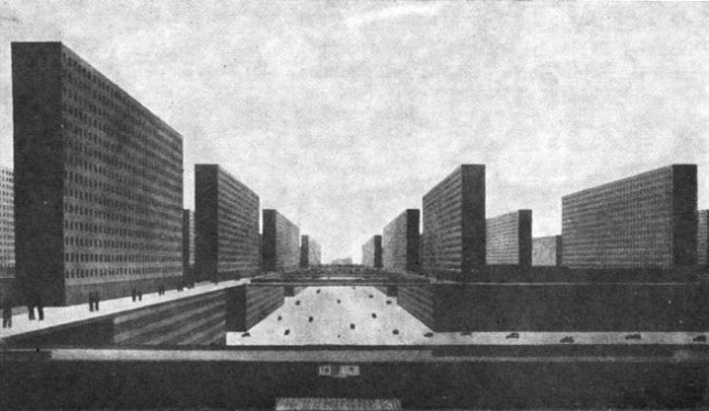 Ludwig Hilberseimer, Hochhausstadt, 1924 Atompunk megacity retro future city