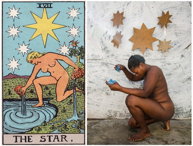 The Star card shows a naked woman kneeling. The woman holds two containers of water. She pours the water out to nourish the earth and to continue the cycle of fertility. Behind her, shines one large star and several smaller stars, representing chakras. This represents a need to open your chakras and cleanse your aura. Notice all the stars have eight points. Eight is Strength, the quality needed to accept your faults and love yourself in spite of them.